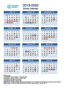 School Calendar 2019-2020 | Western Québec School Board